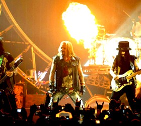 (L - R) Nikki Sixx, Vince Neil, Mick Mars, and Tommy Lee of Motley Crue perform on June 15, 2011 during their 30th Anniversay Tour at The Warfield Theatre in San Francisco, California