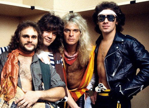 UNITED STATES - JANUARY 01: Photo of VAN HALEN and Michael ANTHONY and Eddie VAN HALEN and David Lee ROTH and Alex VAN HALEN; Posed group portrait backstage L-R Michael Anthony, Eddie Van Halen, David Lee Roth and Alex Van Halen (Photo by Richard E. Aaron/Redferns)